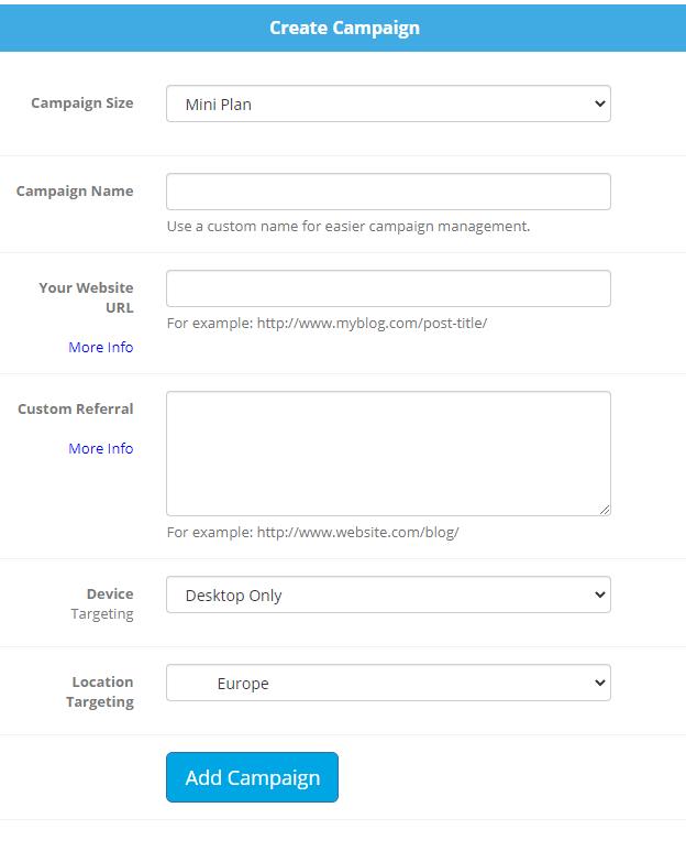 Create Campaign Screen