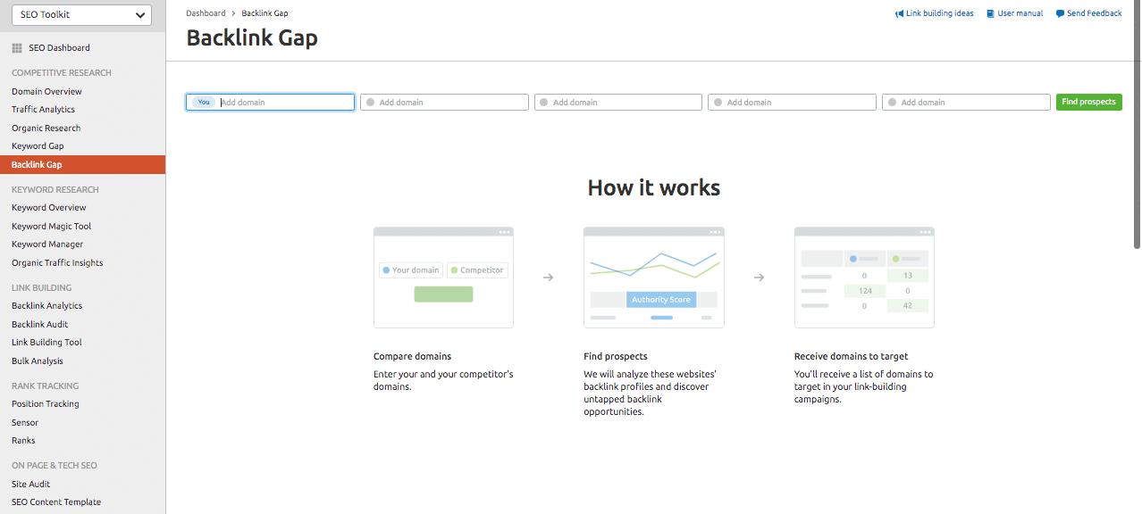 Semrush tool - Find backlink gaps