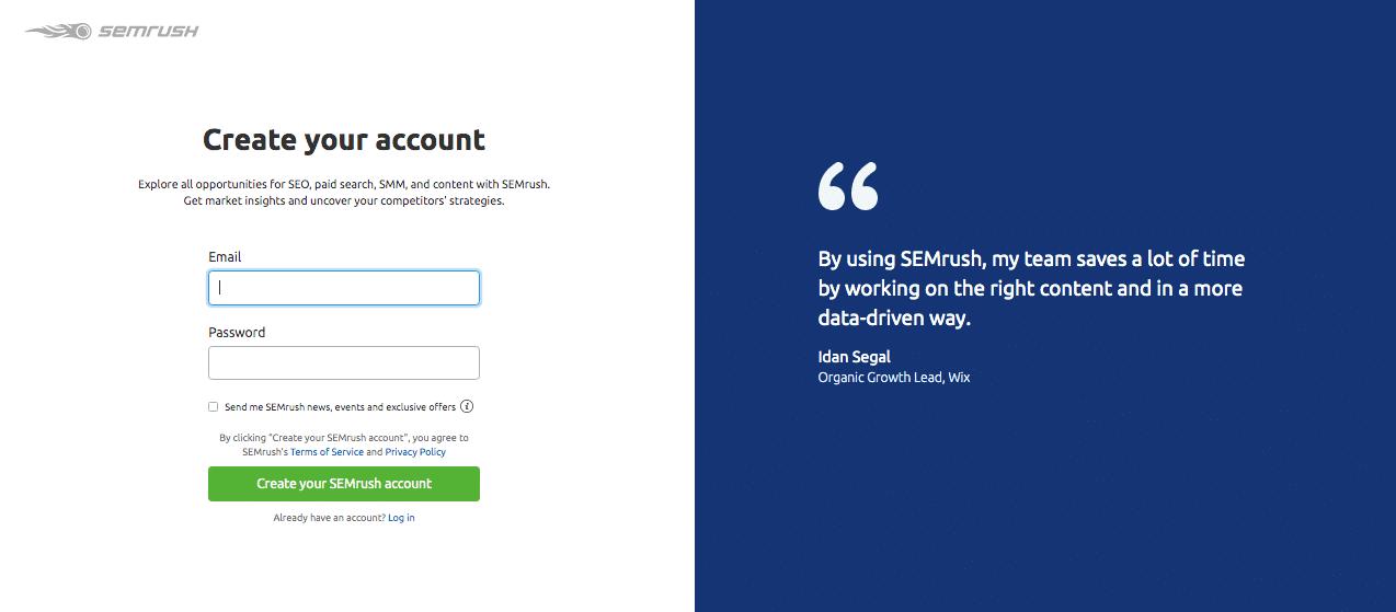 create semrush trial account