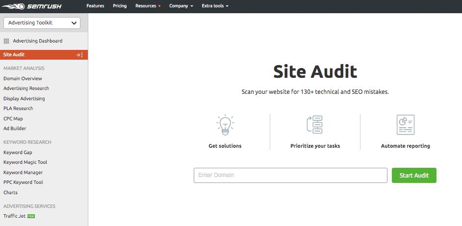 Semrush tool - site audit